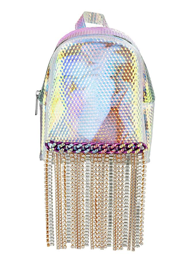 A Holo Backpack Embellished with Swarovski Crystals