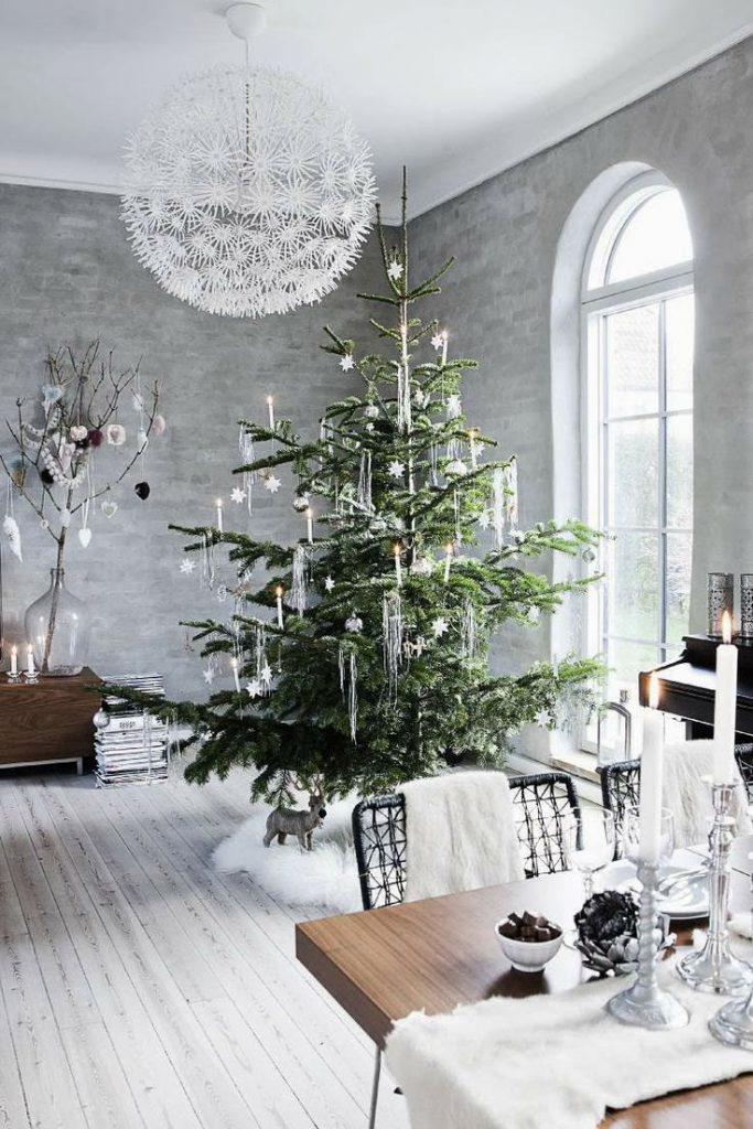 Use your tall ceiling for a bold festive decor