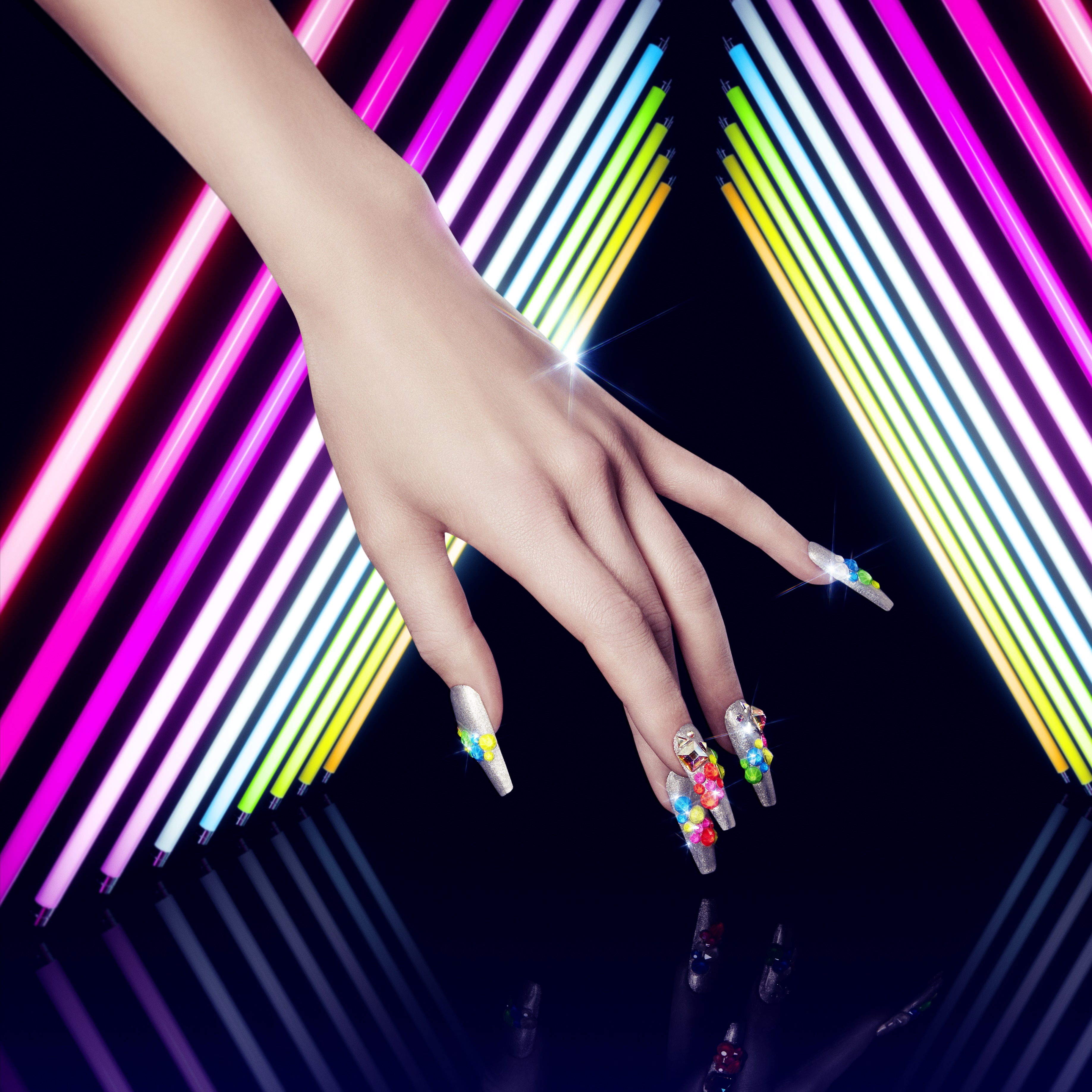 Swarovski Nail Art Trends for Spring 2019_Neon Explosion