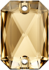 SWAROVSKI®   3252  Emerald Cut Crystal Gold. Shadow  Foiled