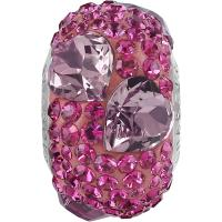 SWAROVSKI® 81722 Pavé Heart Bead Crystal Antique Pink-Fuchsi